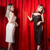 SAROOSY 2018 New Sexy Open Bra Sheer Conjuntos exóticos para Mujeres Sin Mangas Estilo Chino Cheongsam Día de San Valentín Femme