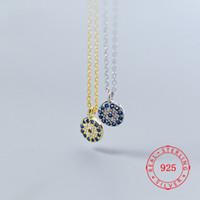 La cadena del collar del ojo alta calidad de plata S925 demonio femenino Turquía Blue males de ojo redondo Geometría Mini clavícula