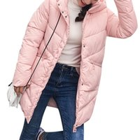 mrwonder Winter New Women Solid Color Medium Style Thickened Cotton-Padded Clothes Hooded Coat Tops Gift