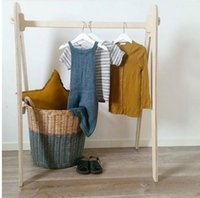 Ins Nordic style simple floor hanger clothing display wooden...