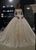 Fuori dalla spalla manica lunga Ball Gown Abiti da sposa 2019 robe de mariee Bead Lace Corset Abito da sposa Abiti da sposa abiti da noiva