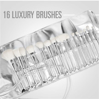 Silver Tube Brush 16pcs set Makeup Brushes Jenner Silver Tub...