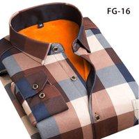 Aoliwen Inverno camisa quente além de veludo espessamento moda imprimir camisa xadrez manga comprida homem vestido de marca SizeL-5XL