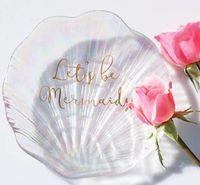 Plato del arco iris Shell Dazzle color de Shell en forma de placas de cristal boda Vajilla Decoración de la placa de postre Platos Pastel de Partido GGA3207-2