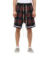 de homens Scottish Plaid Shorts Oversized Streetwear malha Tartan Gota Crotch Shorts Side Zip estiramento cintura na altura do joelho