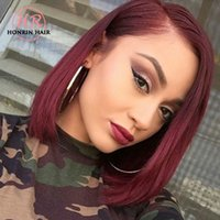 Honrin Hair Full Lace Wig Short Bob Color 99J Lace Front Wig...