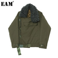 [EAM] 2019 New Spring Winter Fur Lapel Long Sleevearmy Green...