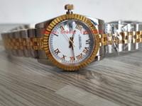 2019 새로운 18kt 골드 스테인레스 스틸 팔찌 명품 시계 여성 18kt 골드 스테인레스 26mm 31mm 179163 179173 화이트 로마 다이얼