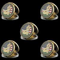 5 ADET 1776 ABD Bağımsızlık Savaşı Frank'in Beyanname Özgürlük Bel zanaat Heykeli 1 oz Bronz Challenge Coin