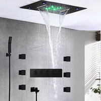 black waterfall shower set massage ceiling shower panel led thermostatic bath bathroom 2 inch body jets rainfall hand shower kit