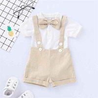 Мальчик Sling сиамского Наборы Дети Дизайнер одежды Baby Boy смычка сплошного цвета с коротким рукавом Шорты Комплекты FJ462