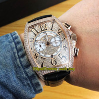 جودة عالية الدار البيضاء 8885 C CC DT Diamonds Deating Dial التلقائي Mechanical Mens Watch Rose Gold Diamond Case Leather Strap Gents
