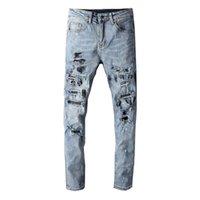 Yüksek Sokak Moda Erkekler Kot Retro Mavi Slim Fit Kirli Yıkanmış Boya Tasarımcı Yırtık Kot Erkekler Patchwork Tahrip Hip Hop
