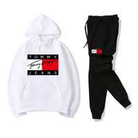 Color Match Emboidery Letters Tracksuit men Outfit Long Slee...