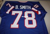 Men BRUCE SMITH #78 Sewn Stitched RETRO JERSEY Full embroide...