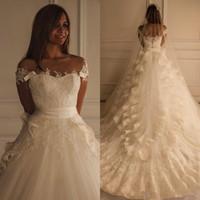 Apliques de renda Marfim Frisado Vestidos de Casamento 2019 Maison Yeya vestido Belo Trem da catedral Do Vintage vestido Árabe Vestidos de Noiva