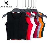 7 cor moda em volta do pescoço camiseta mulheres verão sexy sem mangas altas cintura colheita top de algodão tops camisa feminina streetwear