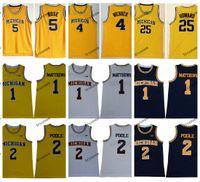 2019 Michigan Wolverines Charles Matthews 2 Jodan Poole College Basket Blay Jersey Vintage Jalen Rose Chris Webber Juwan Howard Maglie