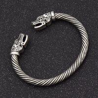 3 cores adolescente lobo cabeça punho pulseira de jóias indianas acessórios de moda viking bracelete homens criativos dragão cabeça pulseira