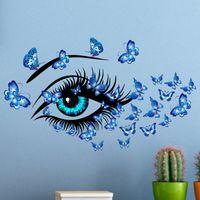 Ojos azules de belleza y mariposas etiqueta de la pared de la sala dormitorio decoraciones de papel tapiz mural desmontable de PVC, Arte de Adhesivos