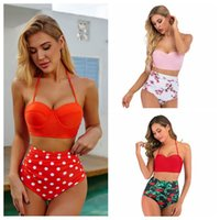 Sexy Halter Hard Bag Bra Swimwear Summer Wave Dot Print Wome...