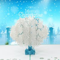 3d tarjetas de felicitación de Navidad tarjeta pop-up de Acción de Gracias y el regalo de año nuevo Decoración de Navidad blanca del copo de nieve