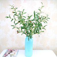 الحرة الشحن زهرة النباتات الاصطناعي فرع الزيتون الاصطناعي حوالي 92 سم طويلة مع أو بدون فواكه مناسبة للديكور المنزل والحديقة