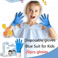 20pcs box Children Blue Disposable Gloves Latex Universal Wa...