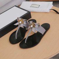 Luxe Designer Tongs Métal Bee Sandales en cuir véritable chausson Slides femmes d'été Beau Bow Tie plat chaussons TAILLE EU36-EU43
