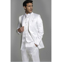 Brand New Shiny White Mens Abiti Groomsmen Peak Smoking dello sposo dello sposo Wedding Best Men Suit 3 Pezzi (Jacket + Pants + Tie + Vest)