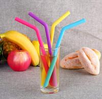 200pcs / lot 25CM gel de silice Pailles à Boire Recycleable Bent droite Jar Sucker Cup Pailles Outils Pipette alimentaires de cuisine Paille en silicone de qualité