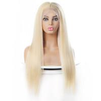 인도 금발 머리 브라질 똑바로 인간의 머리 가발 금발 색깔 613 인간의 머리카락 레이스 프런트 가발 페루 말레이시아
