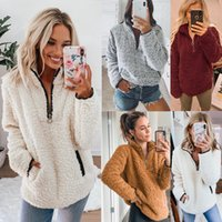 Winter long sleeve solid warm soft Zip front women sherpa pu...