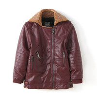 Winter Boys PU Leather Coat Fashion Warm Kids Coat Outerwear High Quality Boys Girls Thick Children Faux Leather 3-12 Y