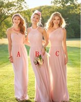 Sweetheart Backless Blush Pink Long Country Style Bridesmaid...