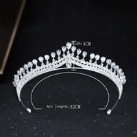 Parlak Parti Tiara Temizle Kristaller Avusturya Kral Kraliçe Taç Düğün Gelin Taçlar Kostüm Art Deco Prenses Performans Tiaras Kafa Parçaları H1
