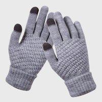 Erwachsene Winter-Screen-Handschuhe Warm Stretch Strickfäustlinge Vollfinger Guantes weiblich Crochet verdicken