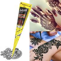 25 / 30g DIY Çizim Vücut Boya Siyah Mehndi Kına Koni Doğal Dövme Geçici Dövme Vücut Boya Sanat Sticker Dövme Araçları