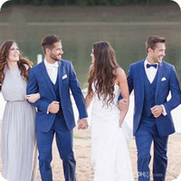 Summer Beach Royal Blue Men Костюмы венчания Groom Смокинги Slim Fit Best Man блейзеры Последние штаны Coat Дизайн костюма Homme 3шт партии