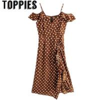 Toppies mujer 2019 verano lunares marrón vestido volantes de la vendimia vestido midi vestidos de estilo de playa t5190606