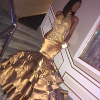 2019 Gold Mermaid Prom Dresses With Tiered Ruffles High Neck...