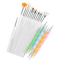20pcs / set Nail Art Design Set acrylique Gel UV Dotting Peinture Dessin ligne Fin plat Outils Pen Brosse polonaise Manucure Salon