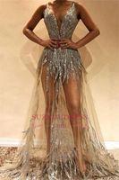 2019 Sexy Sheer Prom Dress Dress Illusion Beaded Abiti da sera di lusso profondo scollo a V Crystal Party Gown Guaina Guaina Pageant Ago
