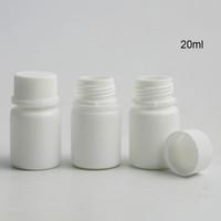 100 X HDPE 20ML صندوق حالة صلبة بيضاء الدوائية حبوب منع الحمل لوحي الطب زجاجات كبسولات الحاويات مع العبث ختم برغي اغطية