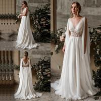 Neue böhmische Hochzeitskleid schiere vorne Boot-Ausschnitt Lace Chiffon Land Brautkleider Vintage Low Back Long Beach Kleid Robe De Mariée 2019