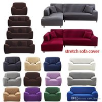 1 2 3 4 Seater Sofa polyester solide Couleur antidérapante Couch Couverture extensible Meubles Protector Salon causeuse