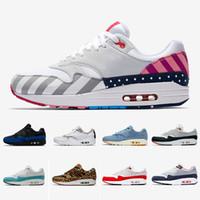 2020 Tartan Atmos Trabalho azul 1s Homens mulheres Running Shoes 87s Sports Trainers OG aniversário Parra animal de carga leopardo Designer Sneakers 36-45