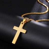 Винтажные классические кресты мужские кулон ожерелье мода из нержавеющей стали 3 мм ширина коробки цепи ожерелья для мужчин женские ювелирные изделия подарок 2021