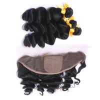 Bundle di tessuto Wave Wave sciolti capelli indiani vergini 3Pcs con chiusura frontale frontale in pizzo ondulato allentato di seta 13x4 con trame di capelli vergini