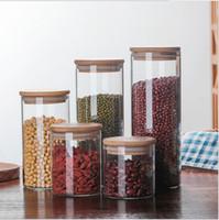 Прозрачный стеклянный контейнер консервных банок чая кофейного зерна,опарник хранения еды с крышкой воздухонепроницаемого уплотнения бамбуковой,канистрой 4пк хранения еды боросиликатного стекла